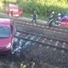 Wypadek w Białośliwiu. Samochód wylądował na torach