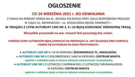Piła. MZK informuje o utrudnieniach
